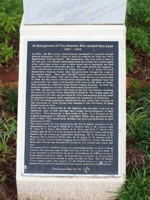 In Recognition Of The Families Who Settled This Land Marker image. Click for full size.
