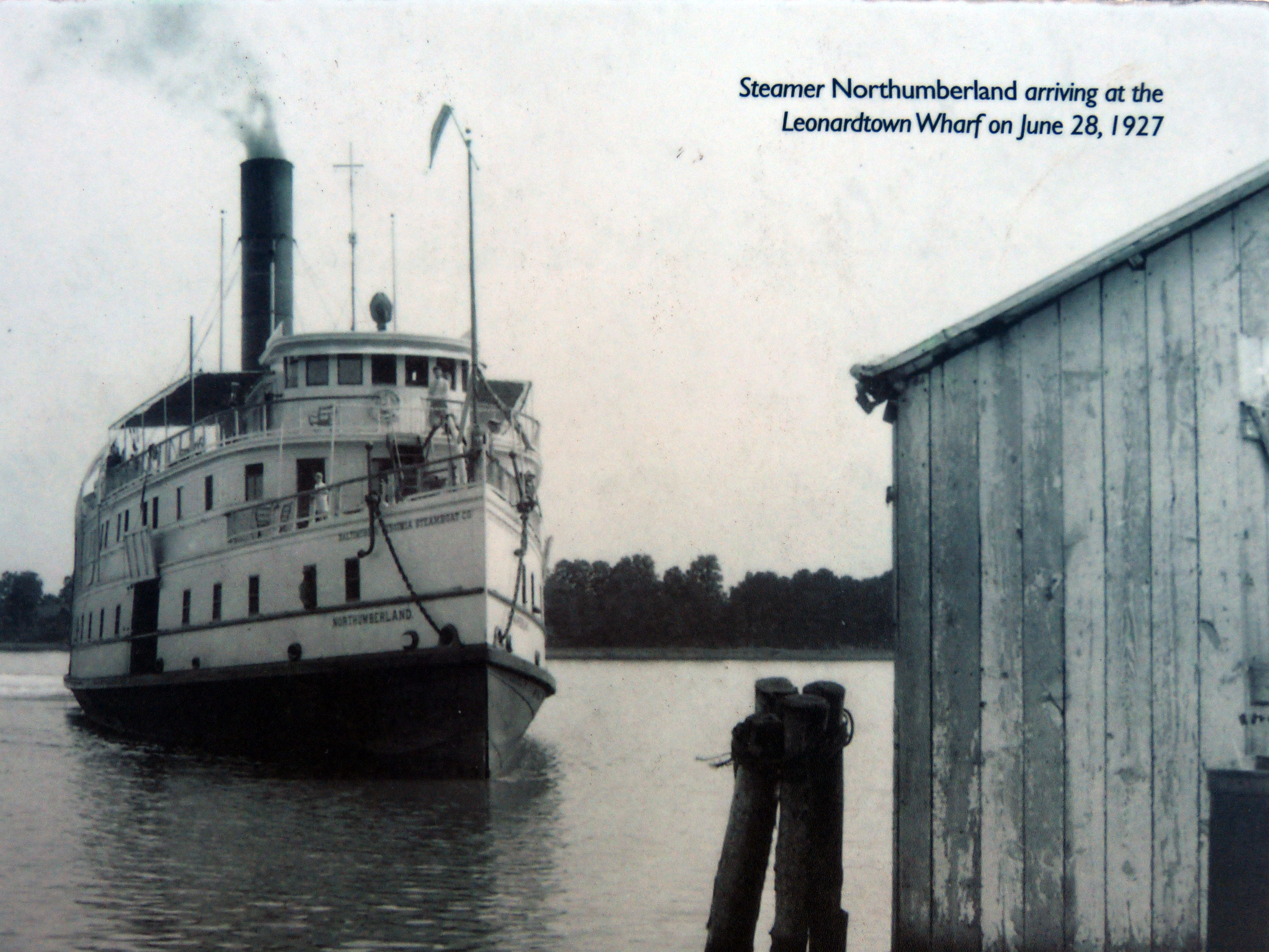 Steamer Northumberland arriving at the Leonardtown Wharf on June 28, 1927