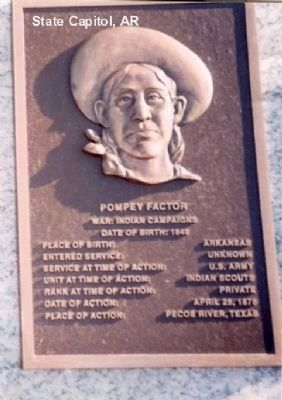 Pompey Factor plaque at the Arkansas State Capitol in Little Rock image. Click for full size.