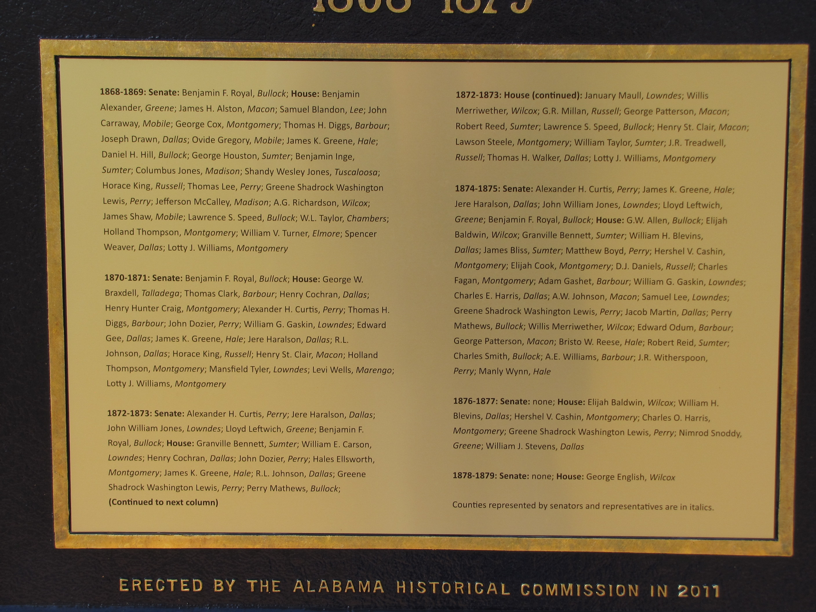 Black Members of the Alabama Legislature Who Served During The Reconstruction Period of 1868-1879 Marker