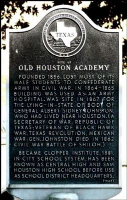 Site of Old Houston Academy Marker image. Click for full size.