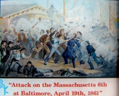 """Attack on the Massachusetts 6th at Baltimore, April 19, 1861"" image. Click for full size."