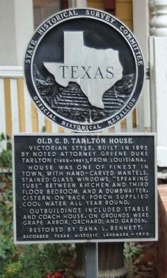 Old G. D. Tarlton House Marker image. Click for full size.