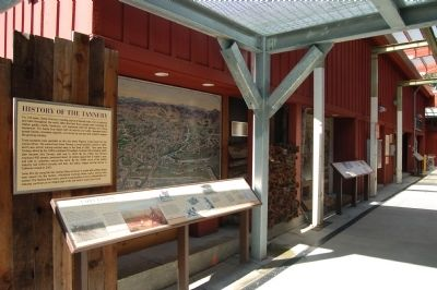 Salz Tannery Marker and historical exhibit. image. Click for full size.