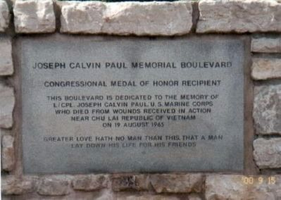 Joseph Calvin Paul Memorial Boulevard Marker image. Click for full size.