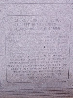 George Corley Wallace, Lurleen Burns Wallace Governors of Alabama Marker image. Click for full size.