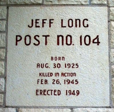 Jeff Long Post No. 104 Marker image. Click for full size.
