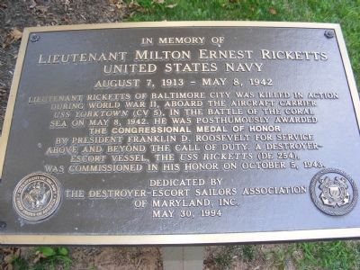 Lieutenant Milton Ernest Ricketts Memorial Marker image. Click for full size.