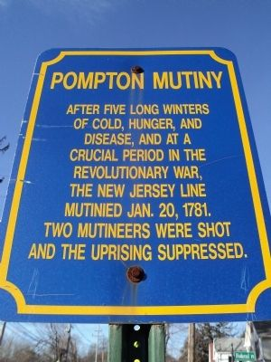 Pompton Mutiny Marker image. Click for full size.