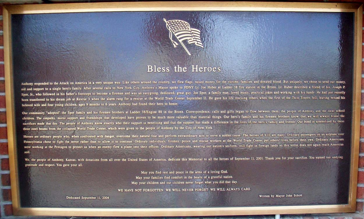 "9-11 ""Bless the Heroes"" Marker"