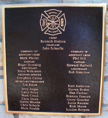 9-11 Anthony Fire Dept Marker image. Click for full size.