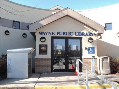 Marker at the Wayne Public Library image. Click for full size.