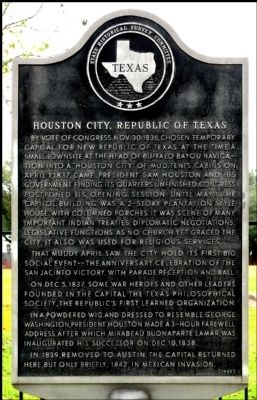 Houston City, Republic of Texas Marker image. Click for full size.