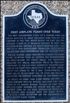 First Airplane Flight Over Texas Marker image. Click for full size.