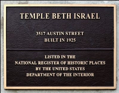 Temple Beth Israel Plaque image. Click for full size.