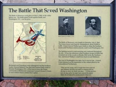 The Battle That Saved Washington Marker image. Click for full size.