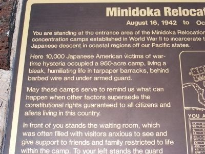 Minidoka Relocation Center Marker image. Click for full size.