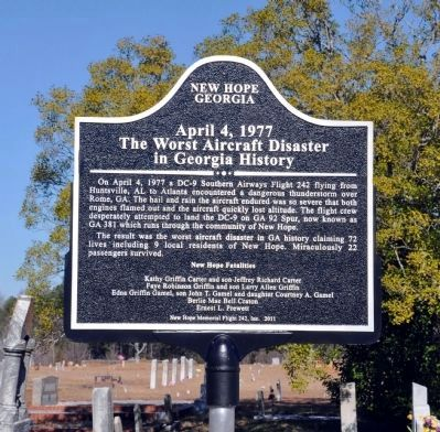 The Worst Aircraft Disaster in Georgia History Marker, Side 1 image. Click for full size.