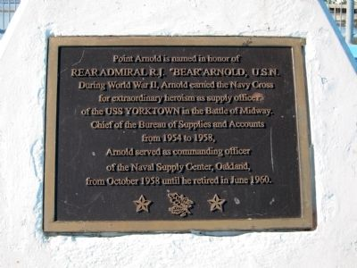 "Rear Admiral R.J. ""Bear"" Arnold, U.S.N. Marker image. Click for full size."