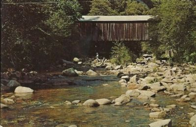Oregon Creek Covered Bridge Vintage Postcard image. Click for full size.