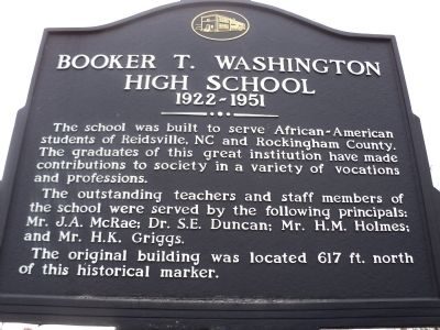 Booker T. Washington High School Marker image. Click for full size.