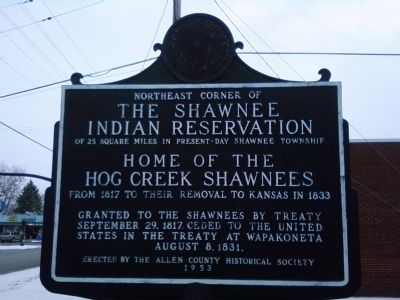The Shawnee Indian Reservation Marker image. Click for full size.
