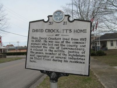 David Crockett's Home Marker image. Click for full size.