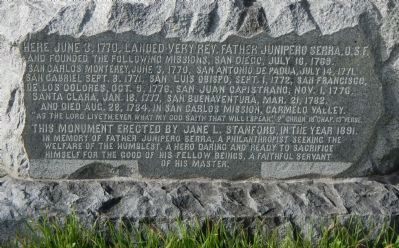 Here ... landed Very Rev. Father Junipero Serra Marker image. Click for full size.