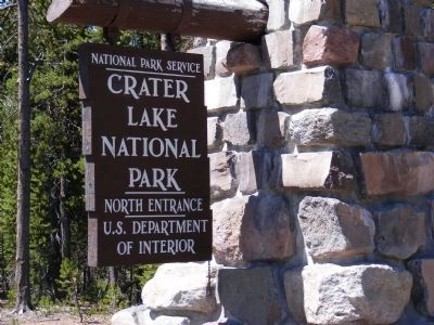 Entrance Sign at the Entrance to Crater Lake National Park image. Click for full size.