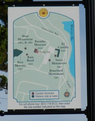 Diagram of historic sites at the Presidio de Monterey image. Click for full size.