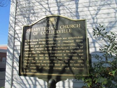 Presbyterian Church of Collierville Marker image. Click for full size.