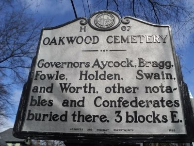 Oakwood Cemetery Marker image. Click for full size.