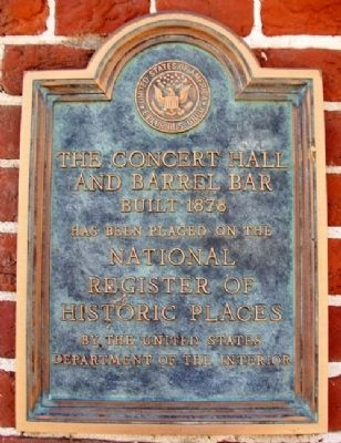 The Concert Hall and Barrel Bar NRHP Marker image. Click for full size.