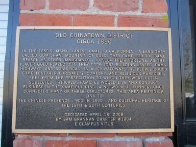 Old Chinatown District--Circa 1890 Marker image. Click for full size.