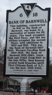 Bank Of Barnwell Marker image. Click for full size.