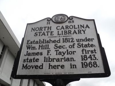North Carolina State Library Marker image. Click for full size.