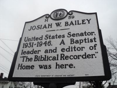 Josiah W. Bailey Marker image. Click for full size.