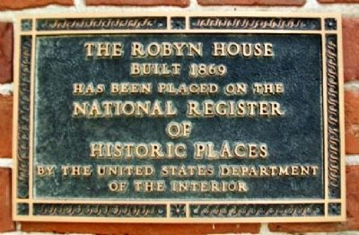 The Robyn House NRHP Marker image. Click for full size.