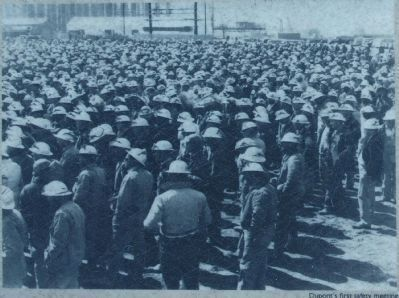 "workers at ""Dupont's first safty meeting"" image. Click for more information."