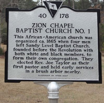 Zion Chapel Baptist Church No. 1 Marker image. Click for full size.