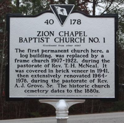 Zion Chapel Baptist Church No. 1 Marker, reverse aide image. Click for full size.
