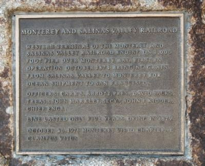 Monterey and Salinas Valley Railroad Marker image. Click for full size.