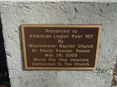 Westminster First Baptist Church World War I Monument<br>Bottom Plaque image. Click for full size.