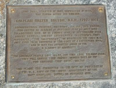 Chaplain Walter Colton, U.S.N., 1787-1851 Marker image. Click for full size.
