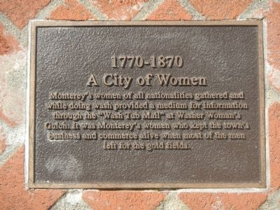Monterey History Time Line Marker - 1770-1870 – A City of Women image. Click for full size.