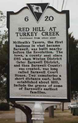 Red Hill At Turkey Creek Marker reverse side image. Click for full size.