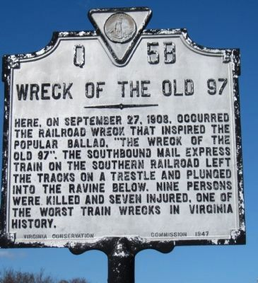Wreck of the Old 97 Marker image. Click for full size.