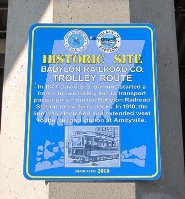 Babylon Railroad Company Trolley Route Marker image. Click for full size.