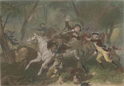 Engraving depicting the death of British Major Patrick Ferguson at the Battle of Kings Mountain image. Click for full size.