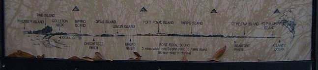 Panoramic sketch Port Royal Sound Northwest to East image. Click for full size.